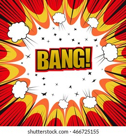 Bang comic cartoon. Pop-art style. Vector illustration with stars, explosive clouds and rays. Explosion template