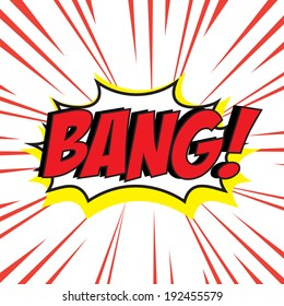 Bang comic speech bubble in pop art style