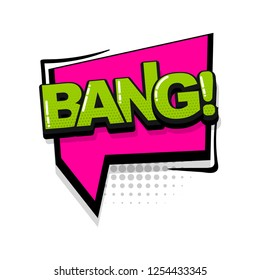 Bang comic text collection sound effects pop art style. Set vector speech bubble with word and short phrase cartoon expression illustration. Comics book colored background template.