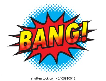 BANG! Icons, logos, pop art, promotional banner designs, for advertising, explosion images, halftones and dots