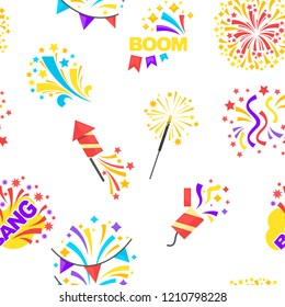 Bang party and celebration of holiday seamless pattern isolated on white vector.