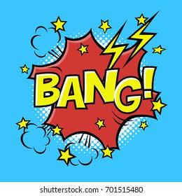 BANG! phrase in speech bubble. Comic text. Vector bubble icon speech phrase. Comics book balloon. Halftone background.