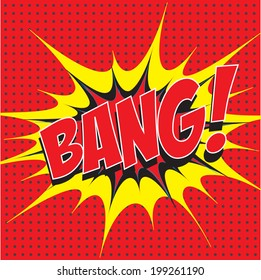Bang! wording comic speech bubble in pop art style on burst and haft tone background, cartoon background