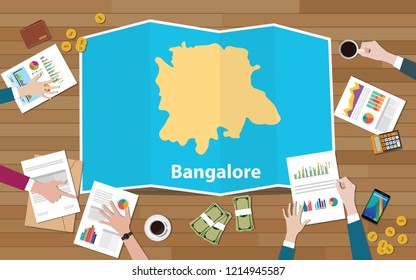 bangalore bangaluru india city region economy growth with team discuss on fold maps view from top vector illustration