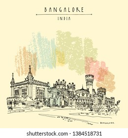 Bangalore (Bengaluru), Karnataka, India. Beautiful Bangalore palace. Travel sketch. Vintage hand drawn postcard template. Vector illustration