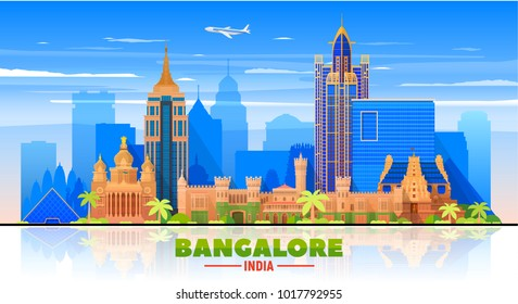 Bangalore( India ) skyline with panorama in sky background. Vector Illustration. Business travel and tourism concept with modern buildings. Image for presentation, banner, web site.