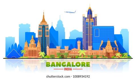 Bangalore( India ) skyline with panorama in white background. Vector Illustration. Business travel and tourism concept with modern buildings. Image for presentation, banner, web site.