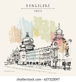 Bangalore, Karnataka, India. Building in Neo-Dravidian style. Travel sketch. Vintage hand drawn postcard template. Vector illustration