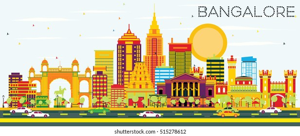 Bangalore Skyline with Color Buildings and Blue Sky. Vector Illustration. Business Travel and Tourism Concept with Historic Architecture. Image for Presentation Banner Placard and Web Site.