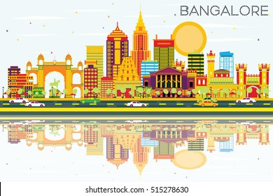 Bangalore Skyline with Color Buildings, Blue Sky and Reflections. Vector Illustration. Business Travel and Tourism Concept with Historic Architecture. Image for Presentation Banner Placard and Web