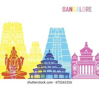 Bangalore skyline pop in editable vector file
