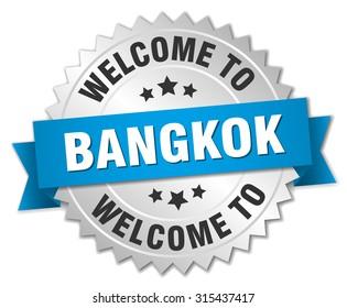 Bangkok 3d silver badge with blue ribbon