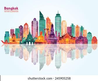 Bangkok city detailed skyline. Vector illustration