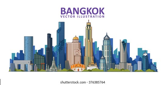 Bangkok city detailed skyline. Vector illustration. Thailand