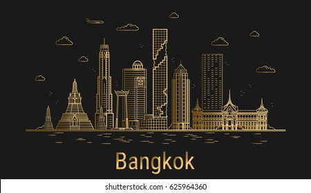 Bangkok city line art, golden architecture vector illustration, skyline city, all famous buildings.