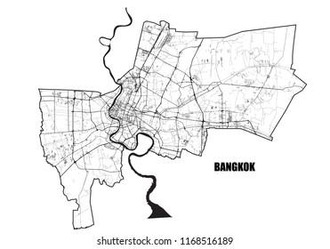 Bangkok city map. Vector black and white map of Bangkok. Roads, rivers, city borders.