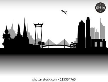 BANGKOK CITY SKYLINE, CONTEMPORARY CITY, THAILAND, Vector