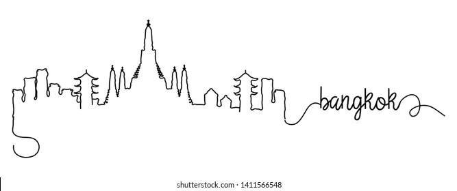 Bangkok City Skyline Doodle Sign