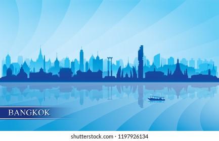 Bangkok city skyline silhouette background, vector illustration