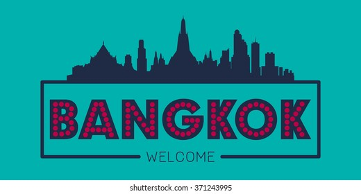 Bangkok city skyline silhouette vector design