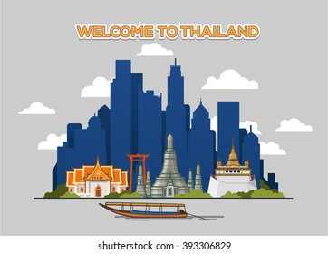 Bangkok city skyline. Vector illustration