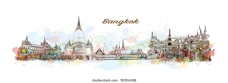 Bangkok City Skyline. Watercolor splash with sketch in vector illustration.