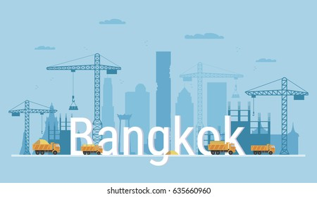 Bangkok city under construction. Banner in flat style. Modern building process and delivery of building materials. Big building area. Abstract vector illustration with construction cranes and trucks.