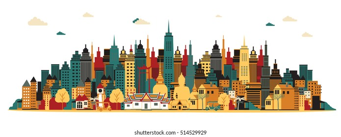 Bangkok city. Vector illustration