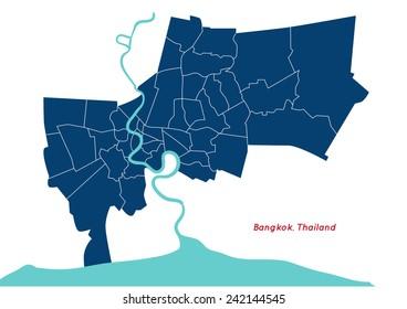 Bangkok, country of Thailand map shape vector