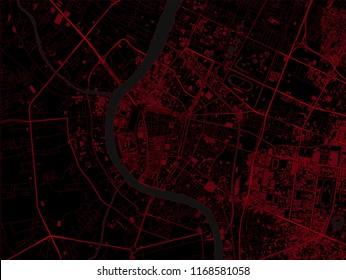 Bangkok dark map. Crime map concept