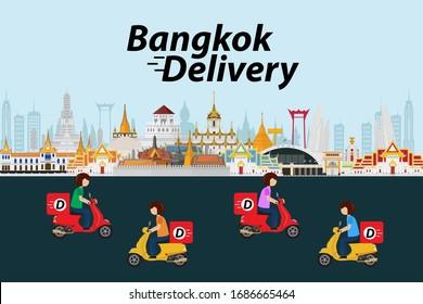 Bangkok delivery ride scooter. Vector illustration