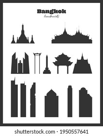 Bangkok landmarks. Black silhouettes on a white background.  This is not auto-trace image! Each building is a separate object, straight lines are aligned by pixels.