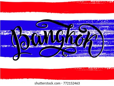 Bangkok lettering icon, Thailand. City logo isolated on raw thai natinal flag. Vintage badge calligraphy in grunge style. Great for t-shirts or poster. Vector illustration