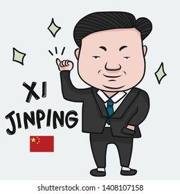 Bangkok - May 27,2019 : Xi Jinping cartoon Drawing editorial illustration, President of the People's Republic of China - Vector