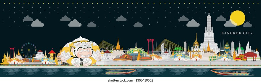 Bangkok night and across Thailand with attractions, landmark. Vector illustration