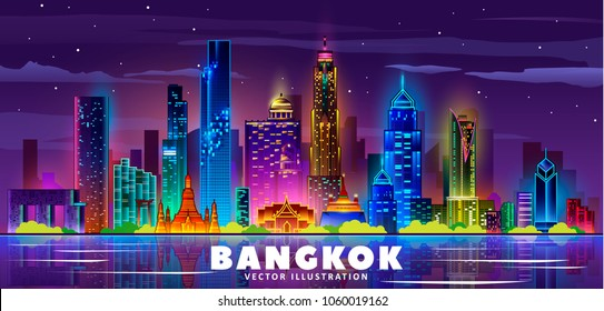 Bangkok night skyline (Thailand). Vector illustration. Business travel and tourism concept with modern buildings. Image for banner or web site.