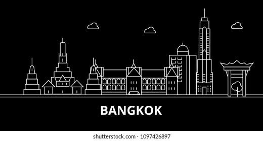 Bangkok silhouette skyline. Thailand - Bangkok vector city, thai linear architecture, buildings. Bangkok travel illustration, outline landmarks. Thailand flat icon, thai line banner