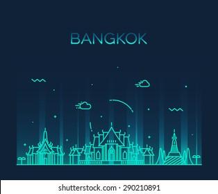 Bangkok skyline, detailed silhouette. Trendy vector illustration, linear style.