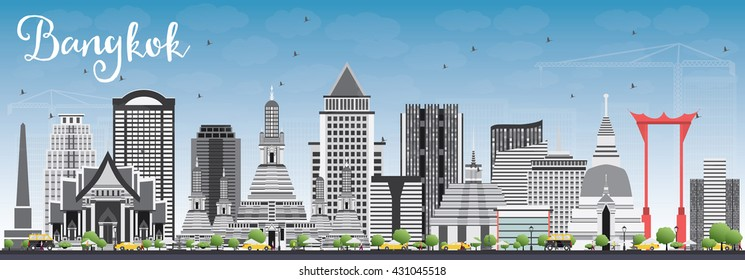 Bangkok Skyline with Gray Landmarks and Blue Sky. Vector Illustration. Business Travel and Tourism Concept with Bangkok City. Image for Presentation Banner Placard and Web Site.