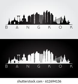 Bangkok skyline and landmarks silhouette, black and white design, vector illustration.