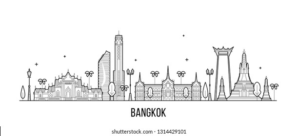 Bangkok skyline, Thailand. This illustration represents the city with its most notable buildings. Vector is fully editable, every object is holistic and movable