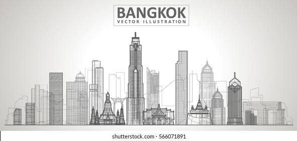 Bangkok skyline. Vector illustration. line City landscape on a background