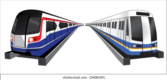 Bangkok skytrain and  subwaytrain icon vector illustration