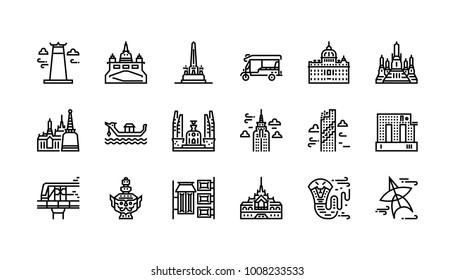 Bangkok symbols and landmarks icon set 1