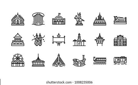 Bangkok symbols and landmarks icon set 2