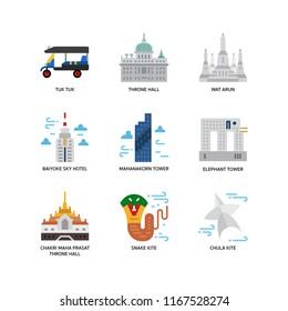Bangkok symbols and landmarks icons