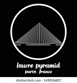 Bangkok, Thailand - 06/30/2019: Louvre Pyramid in paris japan vector line icon.