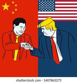 Bangkok, Thailand, 22 May 2019: Caricature person painting Donald Trump Face Expressions Hand shaking China leader (Xi Jin ping) Vector Illustration