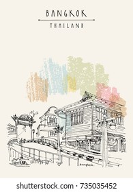 Bangkok, Thailand, Asia. Old printhouse house and a bridge over canal. Travel sketch. Artistic vintage hand drawn touristic postcard. Vector illustration