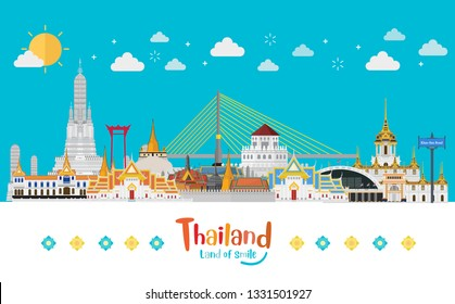 Bangkok, Thailand with attractions, Land of smile. Vector illustration